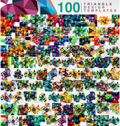 mega collection of 100 mosaic low poly triangle vector image