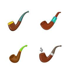 smoking pipe icon set cartoon style vector image