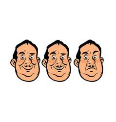 three emotions head fat vector image vector image