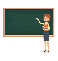 female teacher is writing chalk on a blackboard vector image