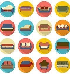 Flat Design Sofa Icons vector image