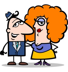 funny man and woman couple cartoon vector image