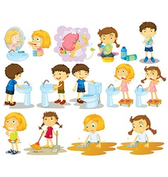 Girls and boys doing chores vector image