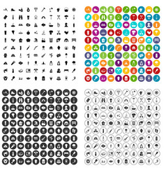 100 fire icons set variant vector image