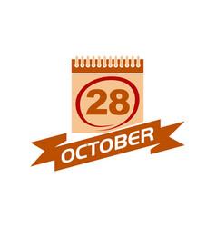 28 october calendar with ribbon 28 october calenda vector image