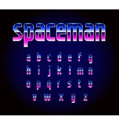 80s Retro Futurism Sci-Fi Font Alphabet vector