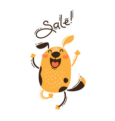 A joyful dog reports sale vector