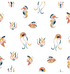 abstract seamless pattern with colorful fishes vector image