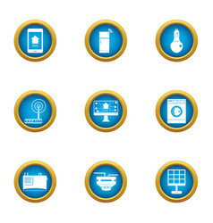 Access point icons set flat style vector