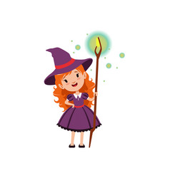Adorable little red-haired girl witch holding vector