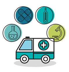 Ambulance vehicle medical emergency design vector