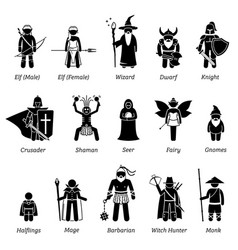 Ancient medieval fantasy characters classes and vector