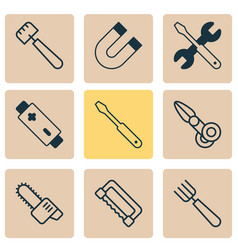 apparatus icons set with scissors saw magnet and vector image