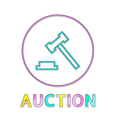 Auction hummer minimalistic icon in linear style vector