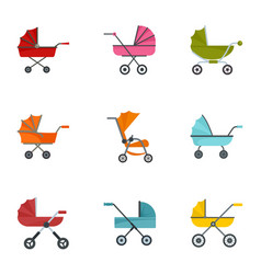 Baby stroller icon set flat style vector