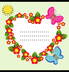 Background with flowers butterfly and sun vector
