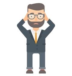 Bankrupt businessman clutching his head vector