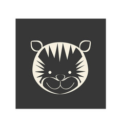 Black square picture of tiger animal vector
