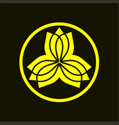blossom or lotus flower logo template with kamon vector image