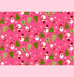 Bright seamless winter pink pattern vector