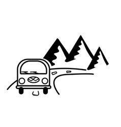 Bus road and mountains sticker on auto glass vector