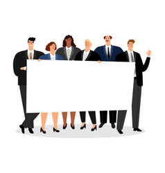 business people holding blank banner vector image