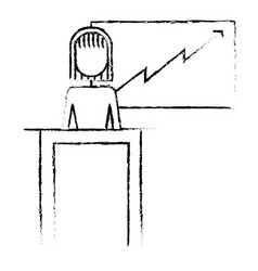 businesswoman podium presentation board diagram vector image