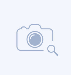 Camera icon with research sign vector