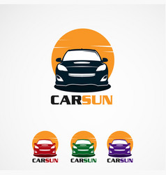 car sun logo icon element and template for vector image
