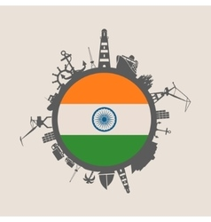 Cargo port relative silhouettes India flag vector image