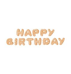 cartoon ginger bread cookies word happy birthday vector image