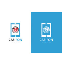 casino and phone logo combination unique vector image