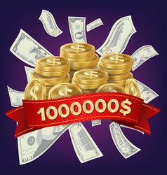 casino winner background coins and dollars vector image