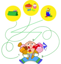 Child eating sweets - game vector image