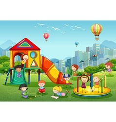 Children playing at playground in city park vector