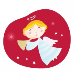 Christmas angel boy with trumpet vector image