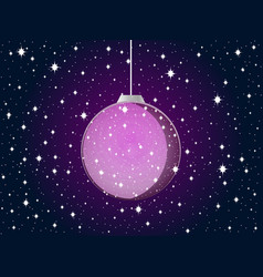 christmas ball with snowflakes and stars purple vector image