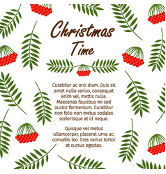 christmas time banner template with red berries vector image