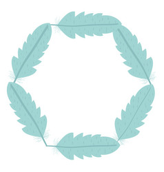 Circular bohemian frame with feathers vector