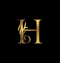 Classy elegant gold h letter floral logo vintage vector