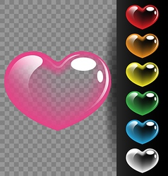 Colorful heart translucent on black background for vector image