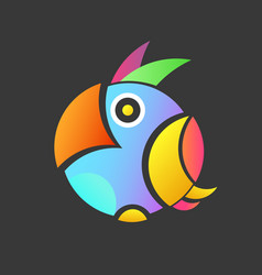 colorful of the parrot with background a small vector image