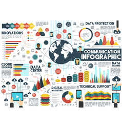 Communication infographic for network design vector