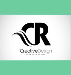 Cr c r creative brush black letters design with vector
