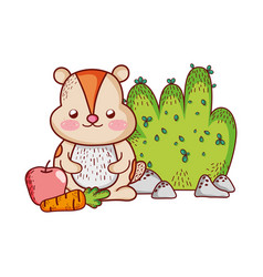 cute animals little beaver with carrot apple bush vector image