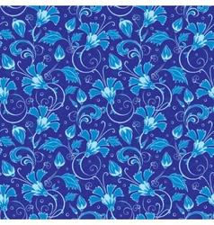dark blue turkish floral seamless pattern vector image