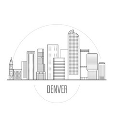 denver city skyline - downtown cityscape towers vector image