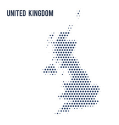 Dotted map of united kingdom isolated on white vector