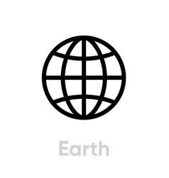 Earth globe planet icon editable line vector