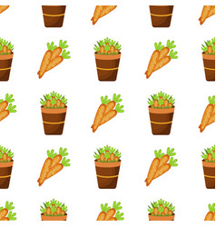 Easter carrot cartoon seamless pattern vector